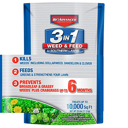 BioAdvanced 704841 Feed 3-in-1 Weed Killer Fertilizer for Southern Lawns, 25-Pound, Granules