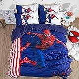 Proxiceen Spider-Man-3D CartoonBettdecke & Kissenbezug Set, weicher & bequemer Bettbezug Einzel-Doppelbett, Leicht zu pflegene Bettwäsche (155x200cm+50x75cm x2)