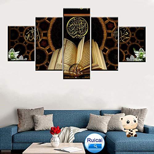 HD Print Panel 5 Islamische Koran Bild Home Decoration Abstrakte Wandkunst Leinwand,Rahmenlose Malerei,40x60cmx2, 40x80cmx2, 40x100cmx1