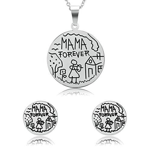 Daesar Joyería Conjunto Collar y Pendientes de Mujer Redondo Diseño Humorístico Mama Forever Grabado Plata Acero Inoxidable Colgantes y Atres Juego de Joyas