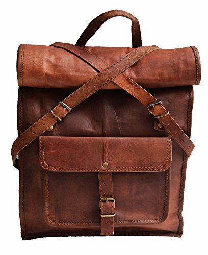 23' Brown Leather Backpack Vintage Rucksack Laptop Bag Water Resistant Roll Top College Bookbag Comfortable Lightweight Travel Hiking/picnic For Men