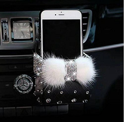 TISHAA Bling Car Phone Holder - Air Vent Pocket Bag Pouch Box Storage Organizer Case Rhinestone Crystal Glitter Cute Interior Accessories iPhone Smartphone (Rabbit Fur Black Holder)