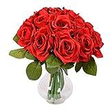Famibay Flores Rosas Artificiales Rojas Ramo de Novida para Hogar de Centro de Mesa Decoración
