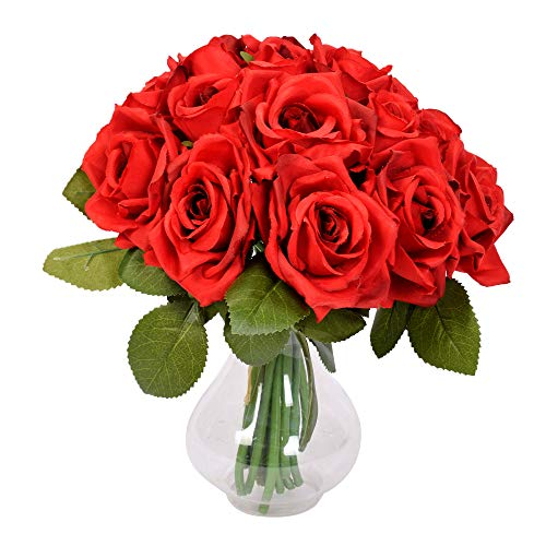 Famibay Rose Künstliche Blumen 18 Rosen 2 Blumensträuße für Hochzeit Seidenblumenstrauß(Rot,Keine Vase)