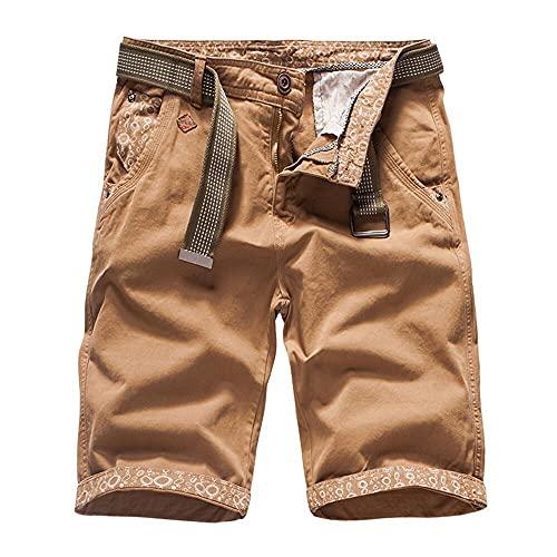 Naxxramas Pantalones Cortos al Aire Libre Pantalones Cortos de Trabajo algodón Hombres Clásico Vacaciones Pantalones Cortos de Playa (Caqui,36,36)