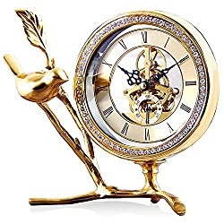 SHISEDECO Desk and Table Clock, Pure Copper Bird Figurine Shaped Design Clock with Diamond Small Decorative Metal Mantle Clock, Office Living Room Bedroom Mute Decoration Sitting Clock