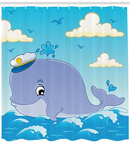 123456789 Walvis douchegordijn Kapitein dier met hoed afdrukken voor badkamer