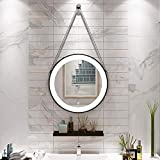 espejo de baño montado en la Pared con Marco Dorado/Negro LED táctil con luz Iluminado Redondo del Hotel Maquillaje Decorativo 40cm, 50cm, 60cm, 70cm, 80cm