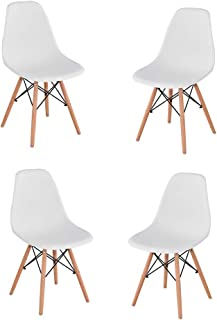 Générique Lot de 4 Chaises de Salle à Manger, Chaises en Polyéthylène pour Cuisine/Bureau/Bar(Blanc)