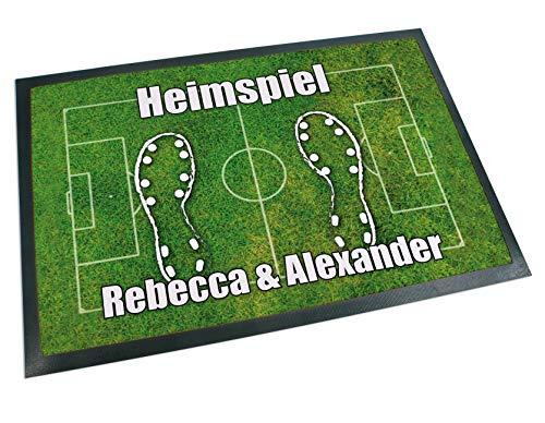 Werbetreff Gera Fußmatte Fußball Name oder Wunschtext (60 x 40 cm) Fußballfeld, Fußballfan, Sportverein, WM …