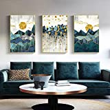 Rudxa Abstract Gold Geometry Sun Mountain Poster Home Decor Canvas Painting Wall Art Print Art for Living Room-50x70cmx3 sin Marco