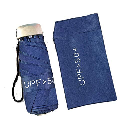 Extra Leichter Taschen-Sonnenschirm, Sonnenschutz- und UV-Schutzschirm, tragbarer Mini-Sonnenschirm für Damen, kostenlose Regenschirmabdeckung-Marine