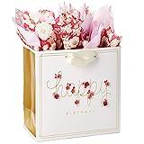 Hallmark Signature 7' Medium Birthday Gift Bag with Tissue Paper (Pink Flowers)