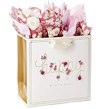 Hallmark Signature 7  Medium Birthday Gift Bag with Tissue Paper  Pink Flowers