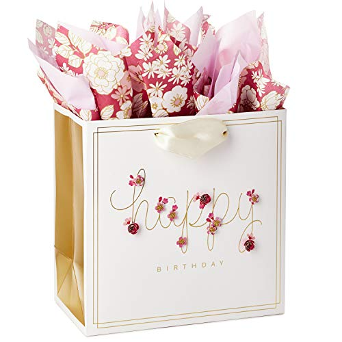 Hallmark Signature 7' Medium Birthday Gift Bag with Tissue Paper (Pink Flowers)