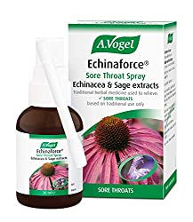 Traditional Herbal Medicine for the relief of sore throats Targeted relief for sore throats Contains extract of fresh Echinacea and Sage Convenient to use A.Vogel Helps - since 1923