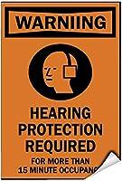 警告プラーク、15分以上必要な警告聴覚保護1347レトロな鉄の塗装金属ポスターガレージホームガーデンストアバーCafeacuteの警告プラークアート装飾