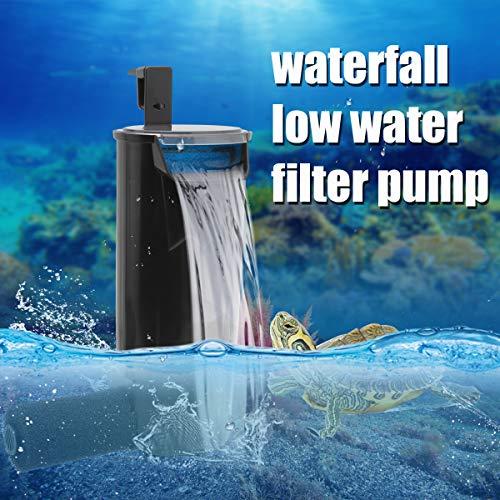 WEAVERBIRD Aquarium Turtle Filter Leiser Durchfluss Wasserreinigungspumpe 5W 400L / H (105 GPH) Biofiltration für Reptilienbehälter Niedriger Wasserfallfilter für kleine Aquarienschildkrötenbehälter