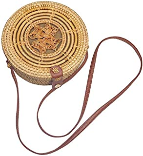 SODIAL Round Rattan Bag Summer Straw Button Handmade Woven Beach Shoulder Bag for Women Cross Body Tote Bali Bohemian Chinese Knot