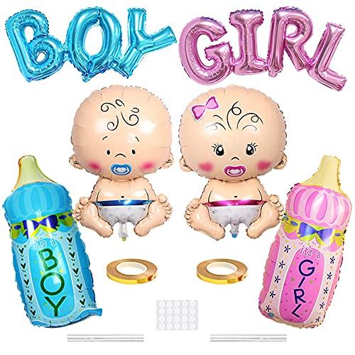 Xihuimay Globos de helio para fiesta bebé 6 unidades para revelar el género para bebé niña azul rosa botella niño niña carta papel aluminio globo que sea baby shower decoración de fiesta cumpl