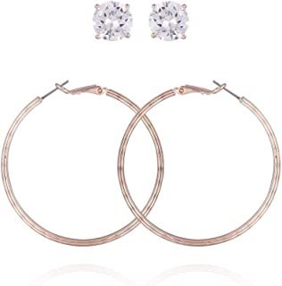 GUESS Women's Hoop Ear with Crystal Stud, Rose Gold, One Size