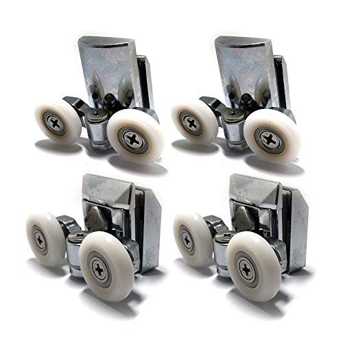 Rodamientos corredores para mampara de ducha, de acero inoxidable, sistema doble (juego de 4, superior e inferior)