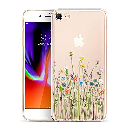 Unov Case for iPhone SE (2020) iPhone 8 iPhone 7 Clear with Design Embossed Floral Pattern TPU Soft Bumper Shock Absorption Slim Protective Back Cover 4.7 Inch (Flower Bouquet)