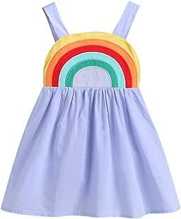 YOUNGER TREE Toddler Baby Girls Outfits Princess Sundress Beach Summer Rainbow Sling Dress Skirt Sets