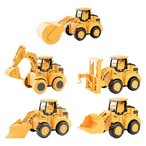 TOYANDONA 5 Piezas de Juguetes para Vehículos de Construcción Coches de Tracción Vehículos de Empuje Y Marcha Juego de Coches de Construcción de Vehículos de Ingeniería para Niños Pequeños