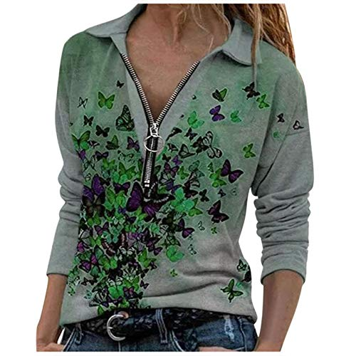 Masrin Mask Sweat-shirt pour femme 2020 Loose Butterfly Print Pull à fermeture éclair à revers à manches longues Tops Streetwear (XL, vert)