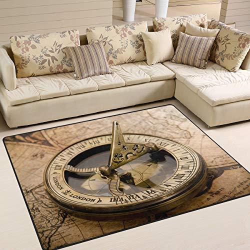 Use7 Teppich mit Kompass auf Weltkarte, für Wohnzimmer, Schlafzimmer, 160 x 122 cm