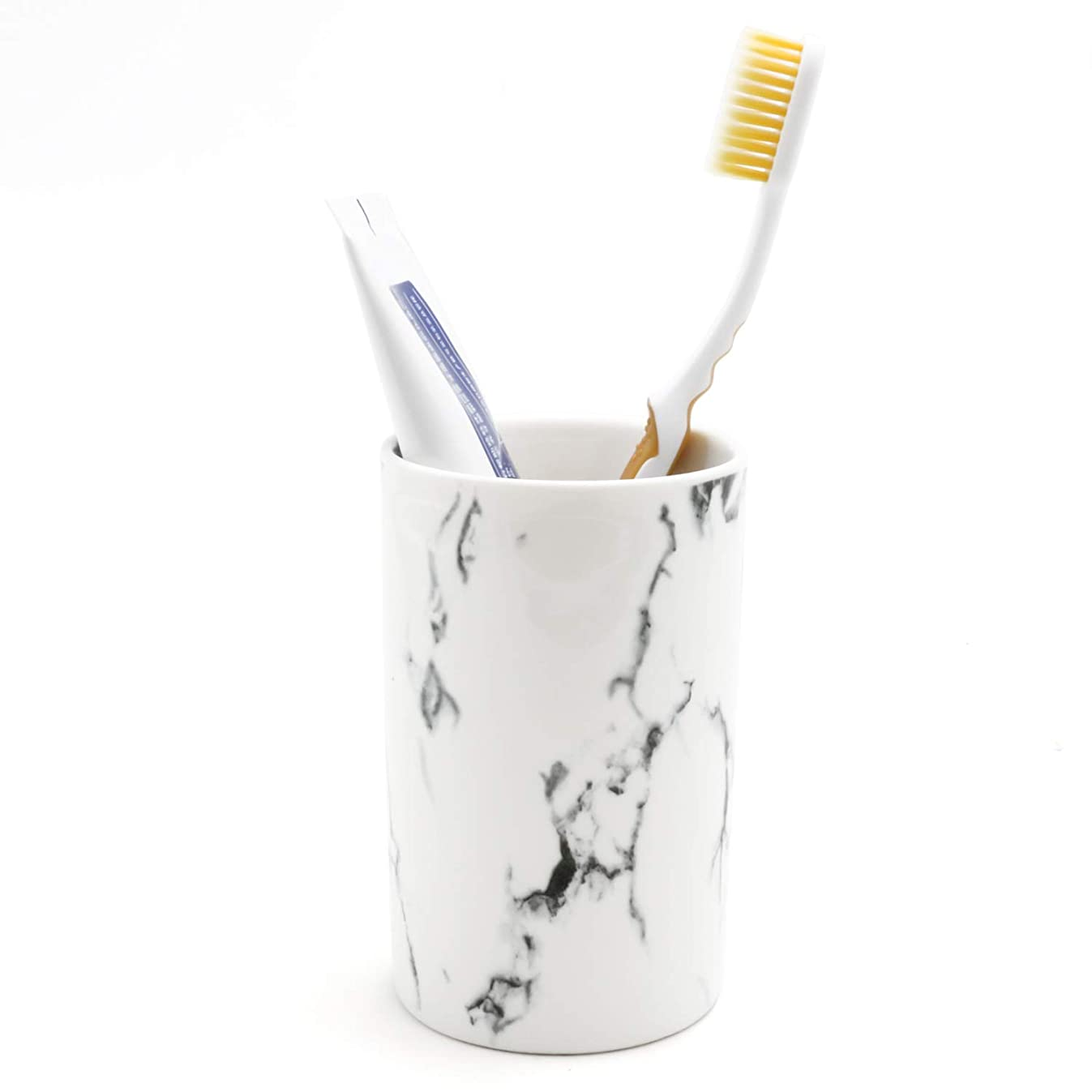 LUANT Ceramic Bathroom Tumbler Cup for Mouthwash/Rinsing, Toothbrush and Toothpaste Holder Stand