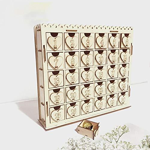 RecoverLOVE Calendario de Adviento de Madera Cuenta Regresiva de 30 días para Bodas, Adornos navideños con Adornos navideños LED, Adornos de Chocolate y Dulces