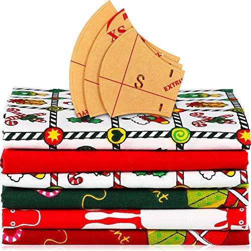 6 Piezas Tela de Algodón Estampada de Navidad con 3 Plantillas de Bandana Facial Kit de Plantillas Reglas de Patrón de Acrílico, 3 Tamaños para Niños Adultos