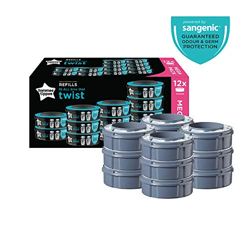 Tommee Tippee Sangenic Recambios Sistema avanzado para desechar pañales Twist & Click, paquete de 12 (compatibles con los contenedores Sangenic TEC y Twist and Click)