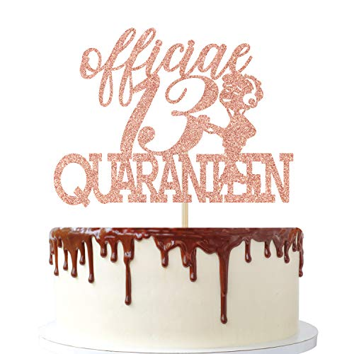 13 & Official Quaranteen Cake Topper, Happy 13th Birthday - 13 and Fabulous, Cheers To 13 Years, 13 & Fabulous Boys Girl Thirteen Years Old Party Decoration Rose Gold Glitter