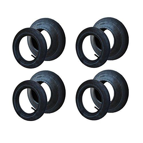 4 Set Reifen+Schlauch 400x100 4.80/4.00-8 Rillen Profil PR2-Lagen Tragfähigkeit 136 kg