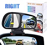 YnGia Blind Spot Mirrors for Cars, Adjustable Rear View Blind Spot Mirrors Car Auxiliary Universal Wide Angle Side Mirror Double Glass Blind Spot Snap Mirror for Truck SUV, 1 Piece (Black-Right)