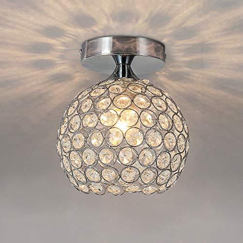 AUA Lámpara de techo, Moderna Lampara Plafon, Pantalla de Techo de cristal E27 de cromo de 15 cm, para dormitorio, sala de estar, pasillo