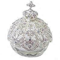 <ブリリアントクラウン> ピィアース トゥインクルボックス キラキラガラスの小物入れ 置物 宝石箱 女性が喜ぶ可愛いプレゼント 誕生日プレゼント 自分へのご褒美 X'mas【ピィアースより直接仕入れショップ】 (シルバー)