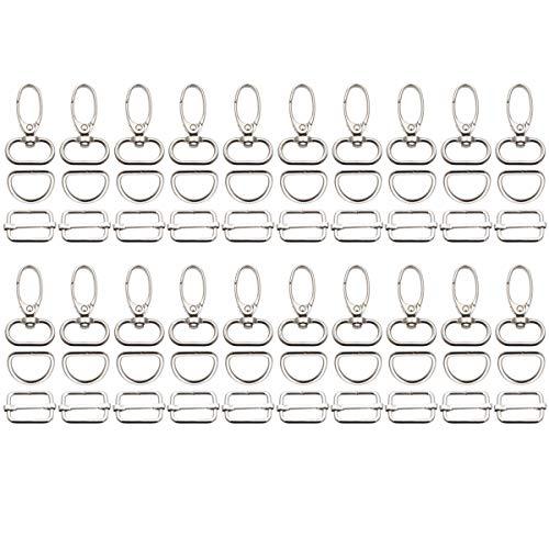 Anladia 60 Stück Karabinerhaken Schlüsselanhänger, 360 Grad drehbare Karabinerhaken 20mm Karabiner mit D Ringen Gurtschieber Nähzubehör für Taschen, Schlüssel, Rucksack, Gurtel
