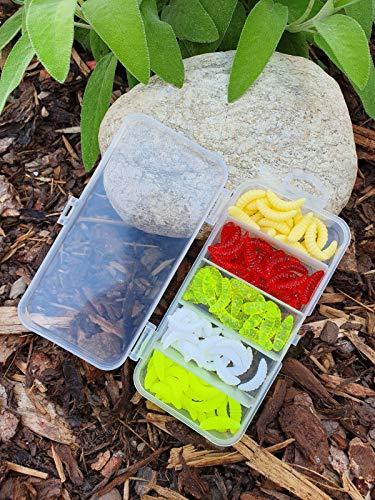 MiTho-Store 100 stück Kunstmaden in Einer stabilen Box, Angeln, Angelköder, Fischen, Forellenangeln, Spoonangeln, Neonfarben, Naturgetreu