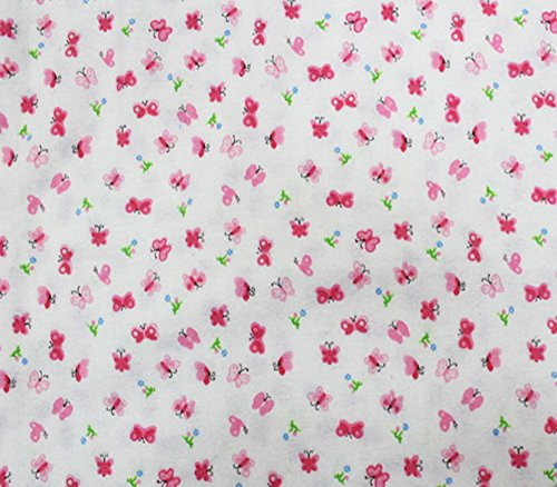 Cotton Flannel Fabric Butterfly Pink / 45