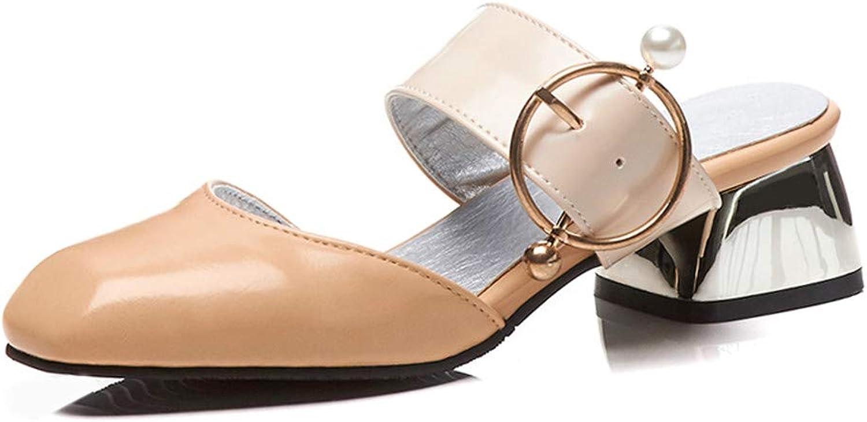 TXHLKD Plus Gre 32-48 Square Med Heels Metall Dekoration Schuhe Frau Casual Party Sommer Pumpen Dropship