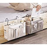 FairOnly Caddy Organizador colgante para mesita de noche bolsa de almacenamiento para literas y camas de hospital, dormitorio o cama, color blanco