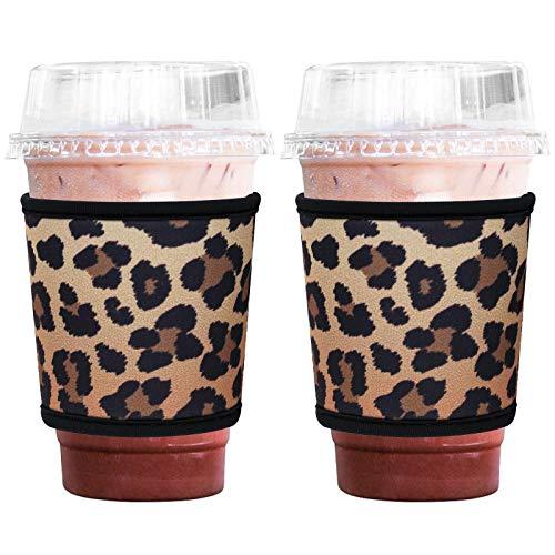 Hzran Wiederverwendbare Eiskaffeetassen-Hülle, Isolator-Java-Hülle für kalte Getränke und heißen Kaffee, 340-680 ml Neopren-Halterung für Starbucks Kaffee, McDonalds, Dunkin Donuts, 2er-Set (Leopard)