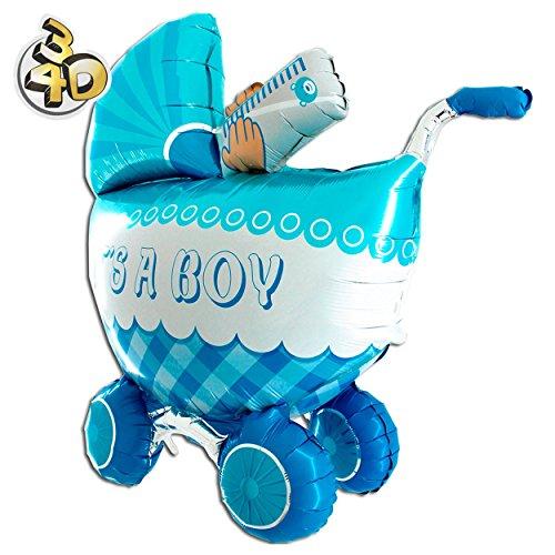 Riesiger 3D Folienballon Kinderwagen Buggy Its A Boy 107cm Blau XXL - Baby Party Geburt Taufe Junge Babyshower Ballon Luftballon Riesenballon