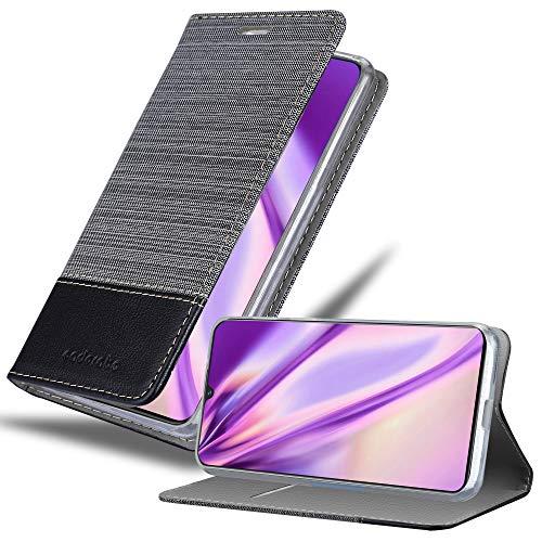 Cadorabo Hülle für Vivo V11 in GRAU SCHWARZ – Handyhülle mit Magnetverschluss, Standfunktion & Kartenfach – Hülle Cover Schutzhülle Etui Tasche Book Klapp Style