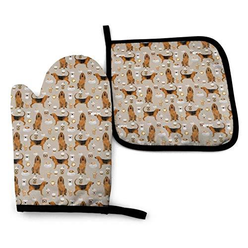 tyui7 Ofenhandschuhe und Topflappen Set, Bloodhound Dogs and Coffees Hitzebest?ndige Handschuhe & Topflappen Küchengeschenk zum Kochen, Backen, Grillen, Servieren, Grillen oder Dinnerparty