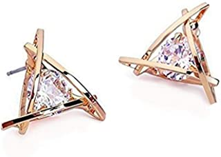 Rose Gold Stud Earrings Triangle Shaped CZ Earrings for Women Expertly Made of Sparkling Starlight Round Cut Cubic Zirconia, Gift for Her